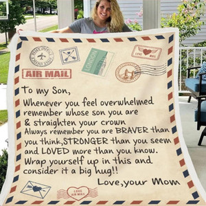 A Gift to My Wife Son Daughter Letter Blanket 3d Print Kepp Warm Blanket On Bed Home Textiles Dreamlike Christmas Gift Letters B