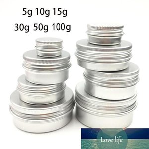 50PCS Cream Jar Tin Cosmetic Lip Balm Containers Nail Derocation Crafts Pot Refillable Bottle Screw Thread Empty Aluminium Cosmetic Tin