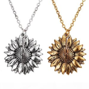 Women Long Chain Charm Necklace Double-layer Engraved Custom You Are My Sunshine Open Locket Sunflower Pendant Necklace Jewelry