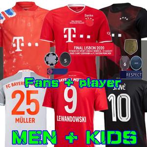 Hombres + Niños camiseta de fútbol 2020 2021 camisa final DAVIES KIMMICH COMAN MÜLLER ventilador 20 21 SANE Lewandowski Bayern Munich Gnabry Jugador de Fútbol