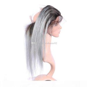 # 1bTgrey 360 레이스 아기 머리를 가진 정면 버진 브라질 직선 인간의 머리 22.5 * 4 * 2 (360) 전체 레이스 정면