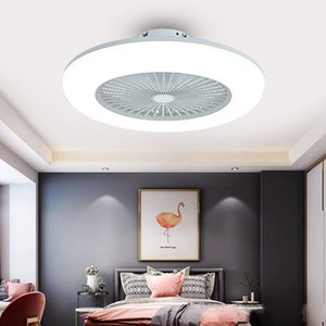 Modern Simple Bedroom LED Fan Light Ultra-thin Macaron Intelligent Remote Control Ceiling Ceiling Fan Lights Lighting