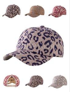 Adult leopard print animal print ponytail baseball cap Criss cross ball cap fashion leopard print high messy hat 6 styles DB437