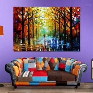 Colorful tavolozza coltello pittura a olio stampe su tela pioggia via giclée stampa giclée tela pittura a parete per la decorazione del salotto1