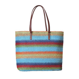 Women Stripe Handbag Summer Beach Female Hot Straw Bag INS Popular Ladies Large Bag Shopping Holiday Weave Bolsa Tote SS3120