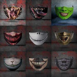 9 estilos de Halloween máscara de la cara de miedo a prueba de polvo Anti-niebla PM2.5 respirables adultos ajustable máscaras de protección lavables entrega rápida