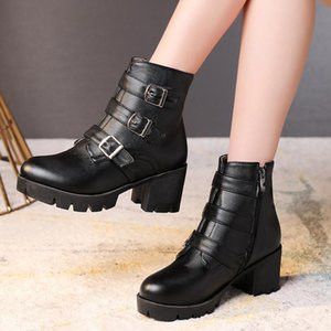 YMECHIC Block Square High Heel Black Boots Women Buckle Strap Ankle Ride Knight Boots Plus Size Gothic Punk Womens Shoes