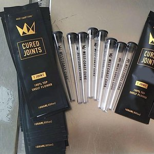 NEW West Coast Cured Joints Bag 1pcs Retail Package with Plastic Tube Package Mylar Bag for Dry Herb Tobacco Packing
