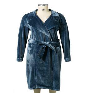 Sexy Cardigan Velour Women beige Sashes Long Coats Autumn Winter Slim Trench Blue Adjustable waist Outwears Coat