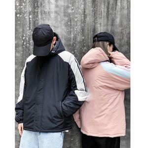 rembourré Casual Medium Style de vêtements à capuchon de couleur contrastée des femmes des hommes Vêtements de créateurs de mode chapeau Zipper Manteaux WW4YDTA