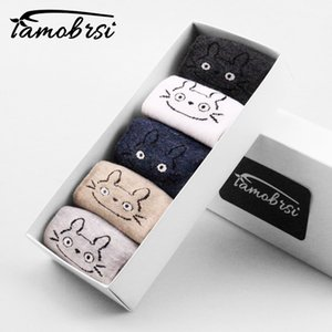 5 pairs lot Cute Animal Cat Totoro Happy Women Cartoon Girl Boat Straight Socks Cotton Short Socks Funny No Show Sock Slippers 201009