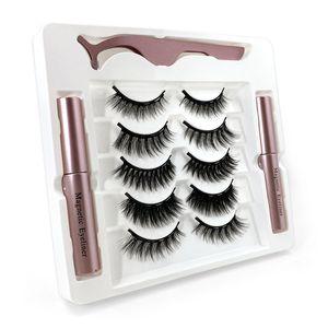 NOUVEAU 5Pairs / Set de cils magnétiques 3D Mink faux minceau Aimant Eye-liner Faux Cils Étanche Étanche Étanche Ételà du maquillage
