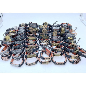 200pcs lot Mix Style Metal Leather Cuff Charm Bracelets For Men's Women's Jewelry Party Gifts Ba wmteOZ dh_seller2010
