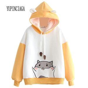 Yupinciaga Broderie Hit Couleur Sweatshirts Femmes Hamster Pull à capuchon chaud avec cornes Harajuku Harajuku Sweat Sweats Sweats 201216