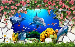 Custom photo wallpaper 3d mural wallpaper for living room Wall tiles underwater world dolphin flower picture painting wall papers home decor