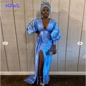 Royal Blue Deep V Neck Prom Dresses 2021 Aso Ebi African Plus Size Evening Gowns With Split Lace Long Sleeves Robe De Soiree