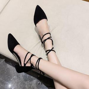 Летняя мода мягкая стада квадратная каблука женская обувь крест ремешок заостренные насосы женщины элегантная вечеринка обувь муджером бомбас 2021 м8-36