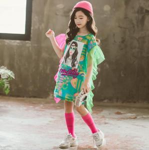 Teenage girls dress cartoon pattern print Princess dress children summer fashion ruffles dress 4- kids girl school clothes LJ200921