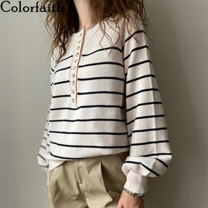 Colorfaith New Autumn Winter Women Sweater V-Neck Buttons Knitted Pullovers Striped Casual Fashionable Wild Tops SW6154 201016