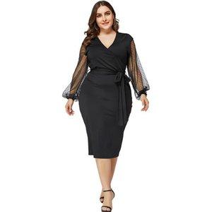 Siyah Plus Size Modelleri Kadın Tasarımcı Seksi V Yaka Mesh Patchwork Kalem Elbise Katı Renk Yüksek Bel Zarif Kadın BODYCON Giyim