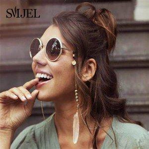 mujer SMJEL manera bohemia rosa color de la pluma de metal gafas de sol gafas de lectura Cadenas Cadena de la cuerda de seguridad Jewelrys Cadena gafas