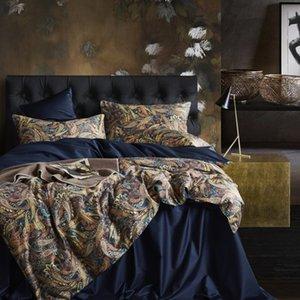Leaf Floral Birds Duvet Cover Set Shabby Navy Blue Egyptian Cotton Bed sheet 4 Pieces Bedding Set with Hidden Zipper Pillow sham T200706