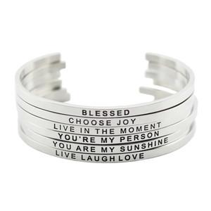 Acier inoxydable 316L en acier inoxydable gravé positif citation d'inspiration de bracelet mantra bracelet bracelet pour femmes hommes