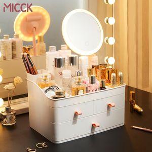 MICCK cosmético compone organizador del cajón de gran capacidad del lápiz labial de cosmética caja de almacenamiento Mujeres Cuidado de la Piel Tocador caso de la belleza Y1113
