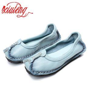 Xiuteng 2020 Mocassini in pelle originali colori misti casuali del fatto a mano morbide scarpe comode donne degli appartamenti