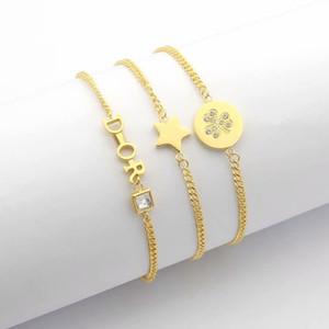 Europe America Fashion Style Lady Women Titanium steel Chain Bracelet With D Initials Pentagram Setting Diamond Pendant 3 Color