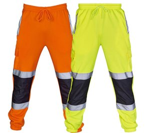 Mens Slim Fit Bottoms Skinny Jogging Joggers Sweatpants Workout Reflective Fluorescent Stripe Safety Work Clothes fz2706