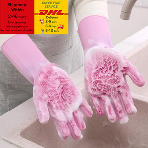 Magic Dishwashing Silicone Gloves Protect Hand Dirt Clean Brushes Cleaning Tool Kitchen Accessories Wash Fruit Vegetable Gadgets DHL Free