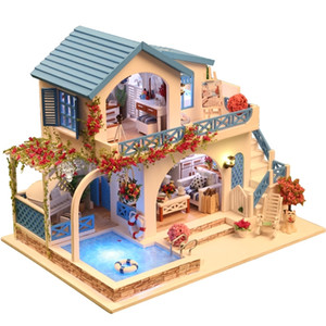 10 Kinds DIY Doll House with Furniture Children Adult Miniature Wooden DollHouse Construction Model Building Kits Doll house Toy Y200704