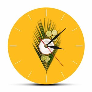 Tropical Coconut Palm and Lime on a Yellow Background Fashion Printed Acrylic Wall Clock Modern Minimalist Quartz Mute Watch