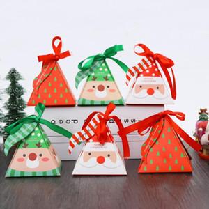 Merry Christmas Candy Box Bag Christmas Tree Gift Box 10 PCS Set Paper Candy Gift Bag Container Supplies Navidad Dropshiping