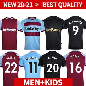 20 21 West Soccer Jerseys Ham 2020 2021 United Snodgrass Fornals بوين كرة القدم قميص أنطونيو هالر نوبل الرجال + أطفال كيت 125 الثالث الأسود