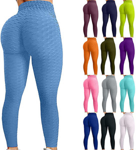 High Waisted Yoga Pants, Women's Bubble Hip Butt Lifting Anti Cellulite Leggings Workout Tummy Control Yoga Tights