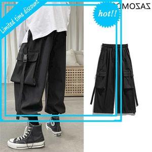 Cargo Men Streetwear Hip Hop Loose Korean Style Single Long Broek Overalls Elastic waist Black Gray Techwear