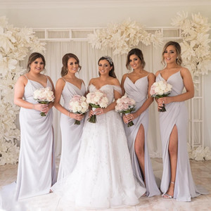 Elegant Plus Size Sheath Bridesmaid Dresses V Neck Front Side Split Spaghetti Long Maid of Honor Gown Floor Length Wedding Guest Dress
