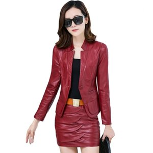 Office Lady Two Piece Leather Outfits Autumn Winter Sets Women PU Leather Blazers Jackets and Leather Skirt 2 Piece Set S-XXXL T200916