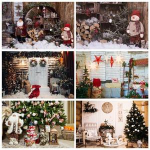 Фоновый материал PO Фон Рождественские Рождество Санта Пунс Снеговик Деревянная полка Подарок Снег Сельский двор Погород PoCall Studio1