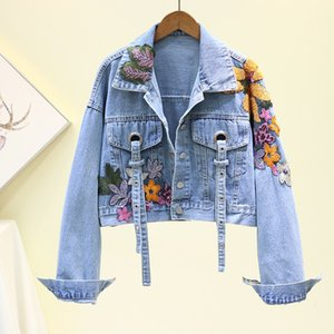 2020 Autumn Women's Denim Jacket Embroidery Sequined Jeans Jacket Long Sleeve Jaqueta Casual Loose Short Coat Student Streetwear