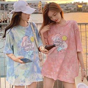 Kawaii dos desenhos animados cor-de-rosa top de manga curta colheita print do golfinho verão casual mulheres bonito t camisa tee moda roupas harajuku estética
