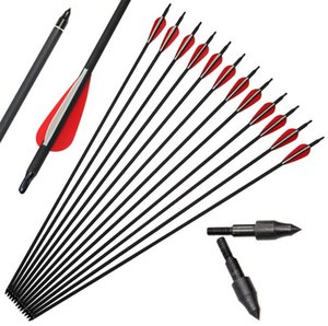 Fashion Black Hunter Mixte Carbon Arrow Arrow Matériel de tir à l'arc Concours Traditionnel American Chasse Arc Arrow Compound Bow Pratique Arrow