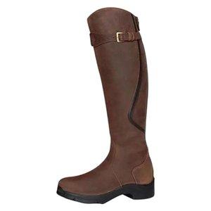 Damen Kniehohe Stiefel Winter-Neutral Med Heels Warm Retro Cooler Zip Riding Snow Boots Winter plus Größe 42 43 British Style Schuhe