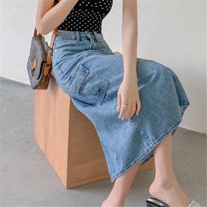 HziriP Slim Slender A-Line Cowboy Pockets Split Skirts 2020 All Match Stylish Elegance Chic High Quality Women Denim Skirts