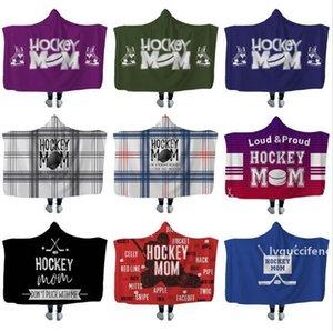 Plush Sherpa Blanket Hockey Hooded blankets Xmas 3D Printed Cape Cloak Fleece Soft Winter Swaddling Bedding Quilt Nap Wraps LXL680AB