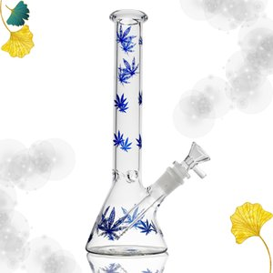 10.63 inch tall glass bong vase blue maple leaf beaker water pipe filter and oil bubbler recycling
