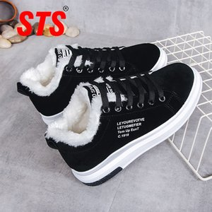 STS Women Shoes Winter Women Boots Warm Fur Plush Lady Casual Shoes Lace Up Fashion Sneaker Zapatillas Mujer Platform Snow Boots 201022