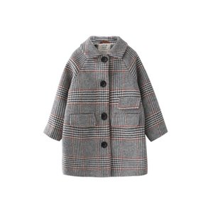 Kids Girl Overcoat Winter Fashion Houndstooth Wool Coat for Girls Teens Autumn Jacket Warm Long Outerwear Children Clothes Y200919